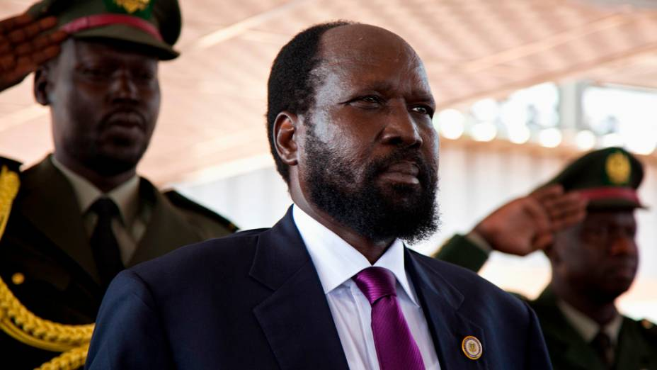 O presidente do Sudão do Sul, Salva Kiir, durante cerimônia em comemoração à independência do país