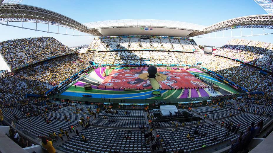 Vista geral do Itaquerão durante a cerimônia de abertura da Copa do Mundo, em São Paulo