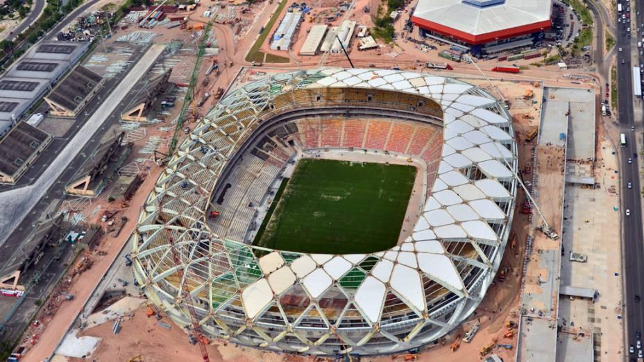 Vista aérea da Arena do Amazônas, em Manaus