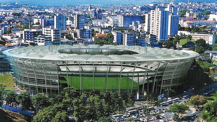 O projeto da Arena Fonte Nova, em Salvador: palco de partidas da fase de grupos e da decisão de terceiro lugar da Copa das Confederações