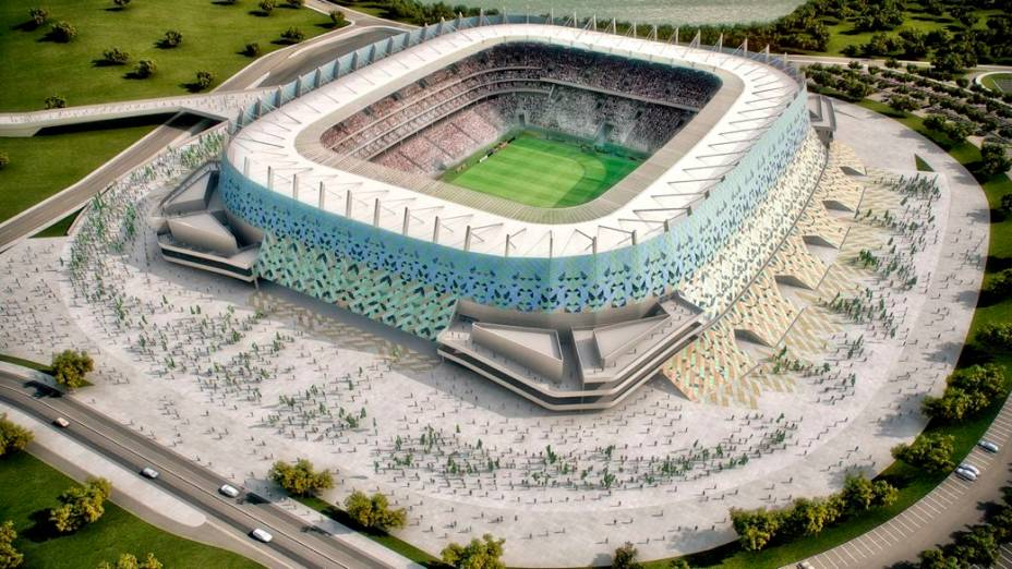 O projeto da Arena Pernambuco, no Recife: palco de três partidas da fase de grupos da Copa das Confederações