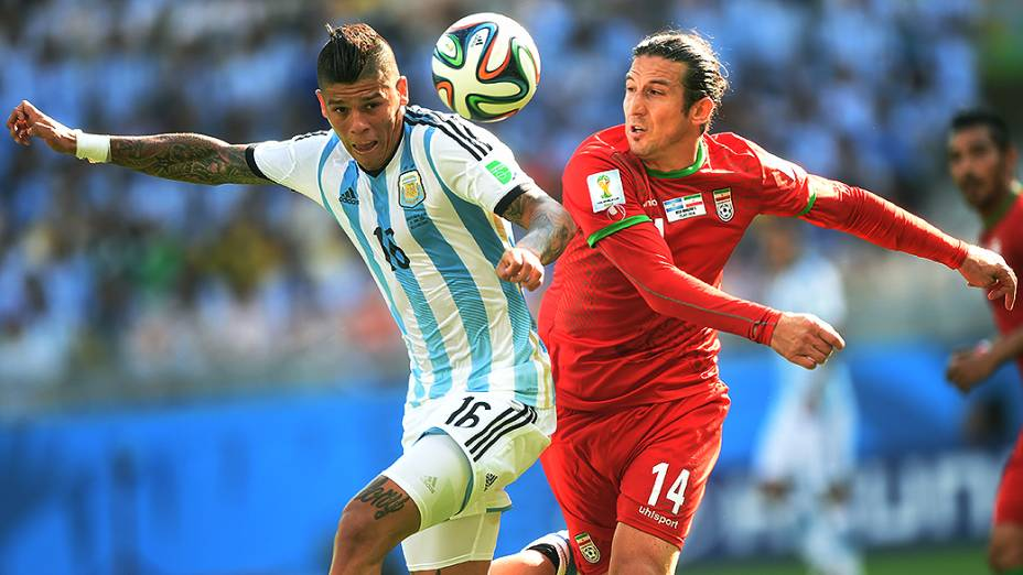 Lance no jogo entre Argentina e Irã no Mineirão, em Belo Horizonte