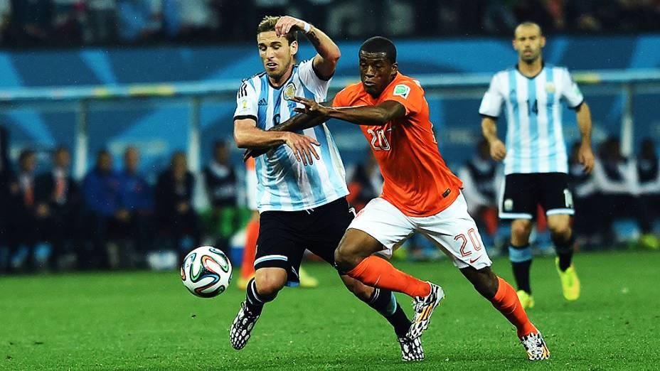 Lance no jogo entre Holanda e Argentina no Itaquerão, em São Paulo
