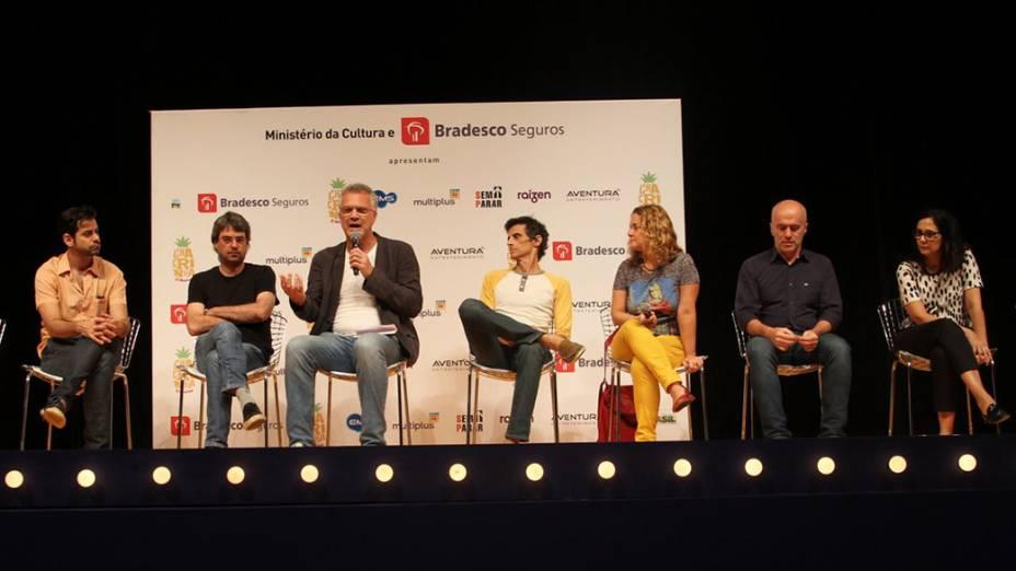 Coletiva de imprensa para apresentação do espetáculo Chacrinha, o musical, de Pedro Bial e Rodrigo Nogueira, no Teatro João Caetano, região central do Rio de Janeiro
