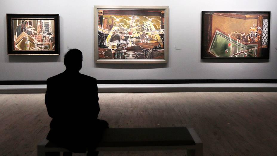 """Três versões de """"Le billard"""", do pintor francês Georges Braque (1882-1963), em exposição no Museu do Grand Palais em Paris"""