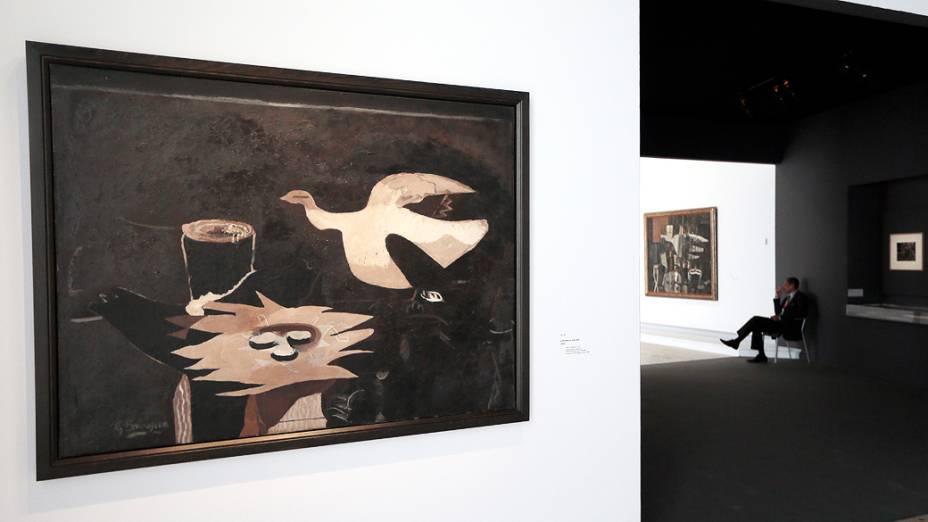 """Pintura """"Loiseau et son nid"""" (O pássaro e seu ninho), do pintor francês Georges Braque (1882-1963), em exposição no Museu do Grand Palais em Paris"""