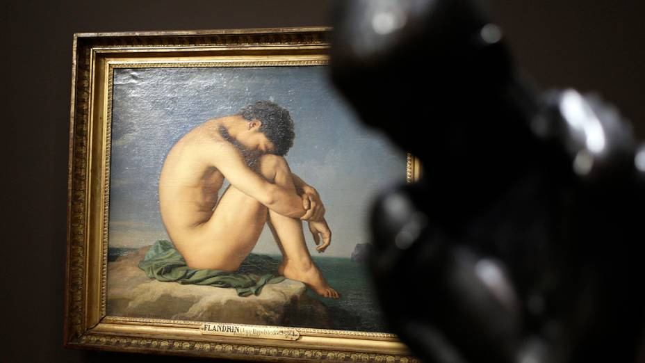 Pintura do artista francês Jean-Hippolyte Flandrin na exposição Masculin / Masculin, no Museu de Orsay, em Paris