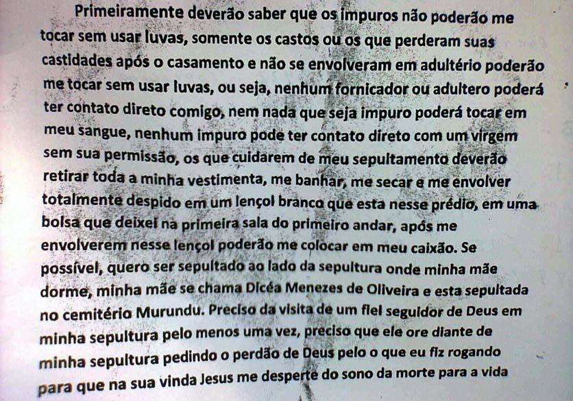 Trecho da carta deixada por Wellington Menezes de Oliveira, que cometeu suicídio, após invadir a Escola Municipal Tasso da Silveira e abrir fogo contra os alunos