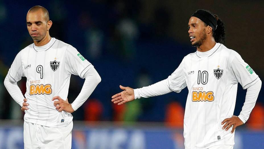 O jogador Ronaldinho Gaúcho do Atlético MG após a derrota do Atlético MG para o Raja Casablanca válida pela semifinal do Mundial de Clubes da Fifa 2013, no estádio da cidade de Marrakech em Marrocos, nesta quarta-feira (18)