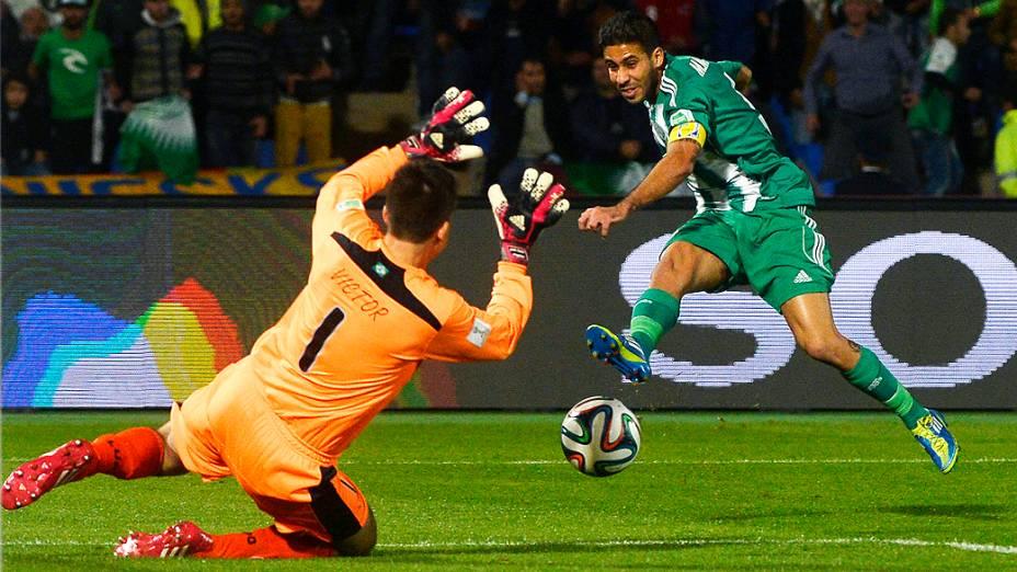 Partida entre Atlético MG e Raja Casablanca válida pela semifinal do Mundial de Clubes da Fifa 2013, no estádio da cidade de Marrakech em Marrocos, nesta quarta-feira (18)