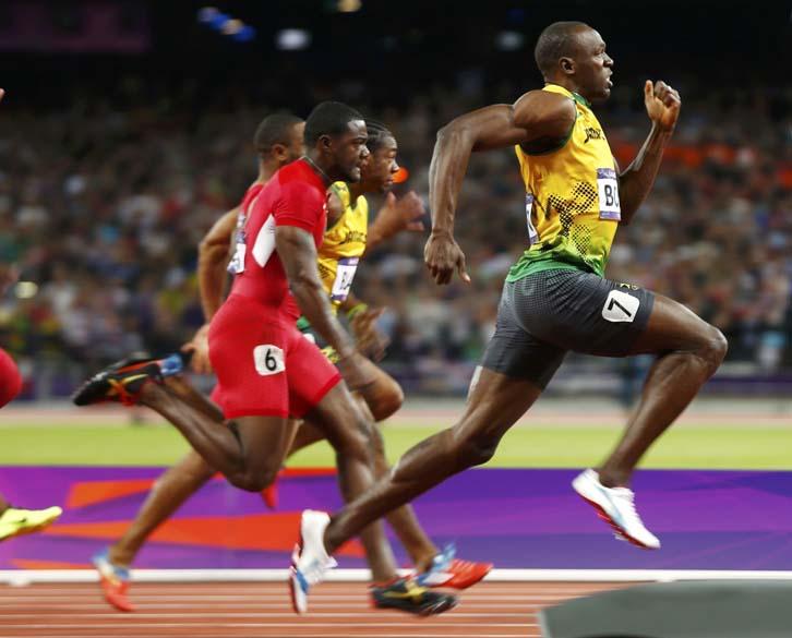 Usain Bolt durante prova da final dos 100m nas Olimpíadas de Londres, em 05/08/2012