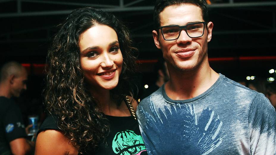 Atriz Débora Nascimento e o ator José Loreto, no camarote Trident, no Rock in Rio 2013