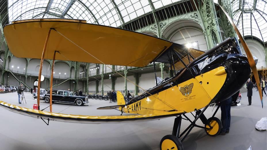 Um avião Havilland Gipsy Moth (1929) é exibidos em leilão no Grand Palais, França