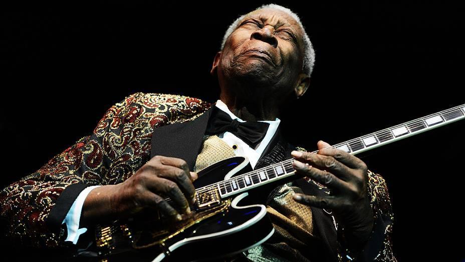 """O guitarrista B.B. King faz o show no Brasil da turnê """"The Blue Is My Life"""", no via Funchal em São Paulo"""