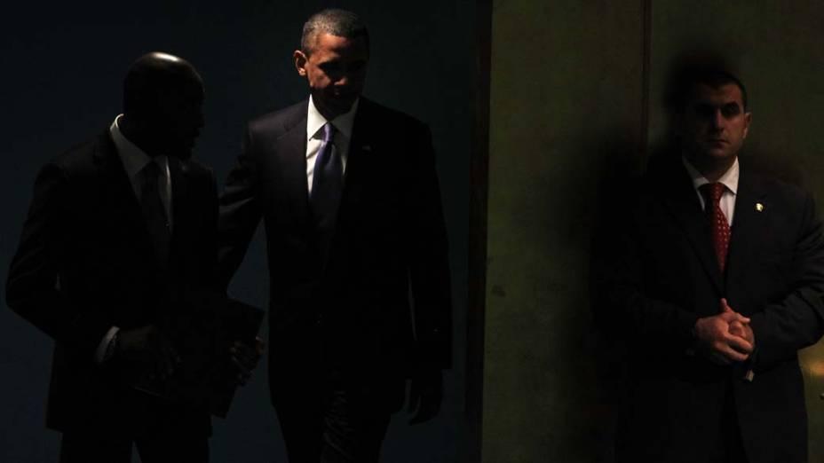 O presidente americano Barack Obama chega à sessão da Assembléia Geral da ONU, em Nova York
