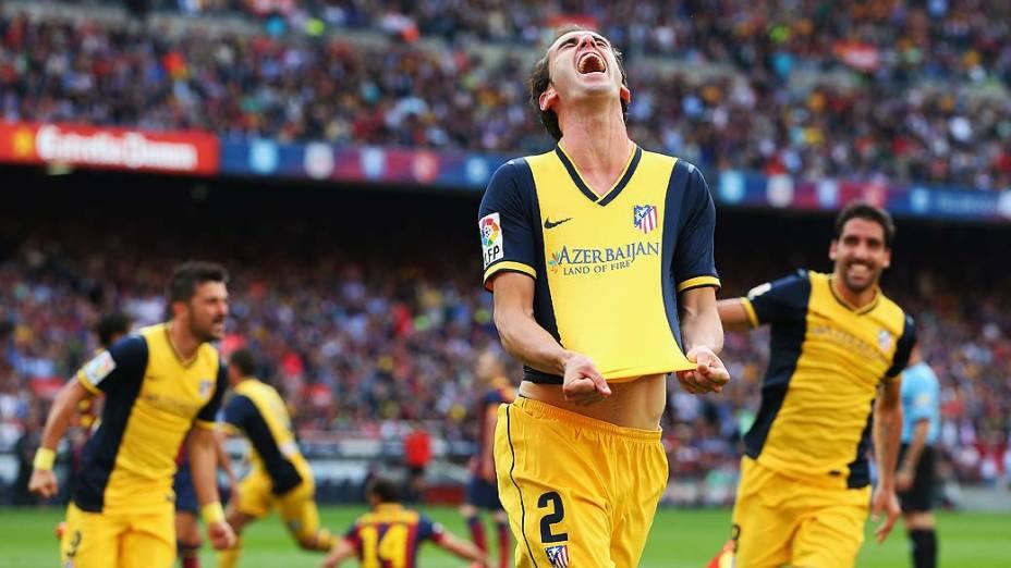 O uruguaio Diego Godín marcou, de cabeça, o gol que deu o título ao Atlético