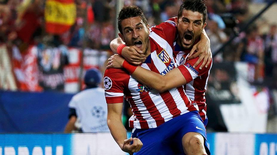 Koke, à esquerda, marcou o gol que deu a vitória ao Atlético de Madri