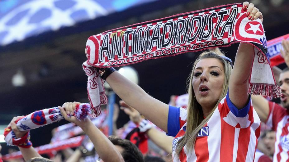 Torcida do Atlético de Madri lotou o estádio Vicente Calderón