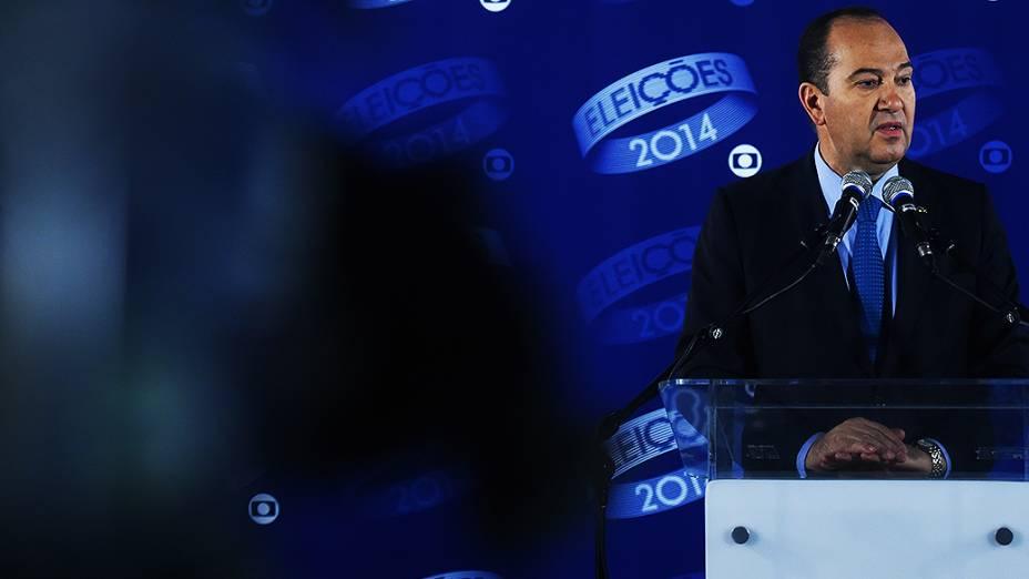 O candidato do PSC à Presidência da República, Pastor Everaldo, depois do debate promovido pela Globo, no Rio