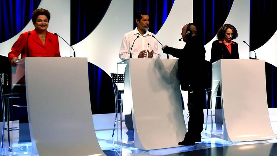 O candidato Eduardo Jorge (PV) durante o intervalo do debate dos presidenciáveis promovido pelo SBT, em 01/09/2014