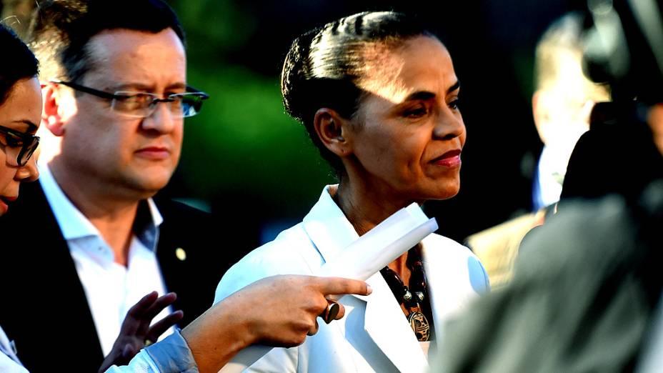 A candidata Marina Silva (PSB) chega para o debate dos presidenciáveis promovido pelo SBT, em 01/09/2014
