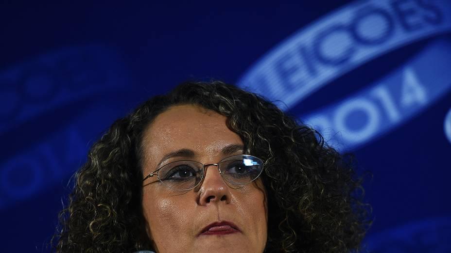A candidata à Presidência da República, Luciana Genro (PSOL), depois do debate promovido pela Globo, no Rio