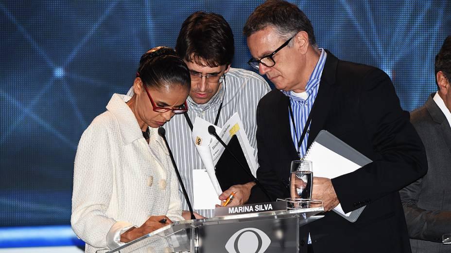 A candidata Marina Silva (PSB) antes do debate dos presidenciáveis promovido pelo Grupo Bandeirantes, em 26/08/2014
