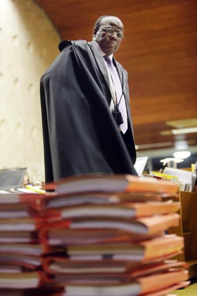 Ministro Joaquim Barbosa, durante julgamento do mensalão, em Brasília