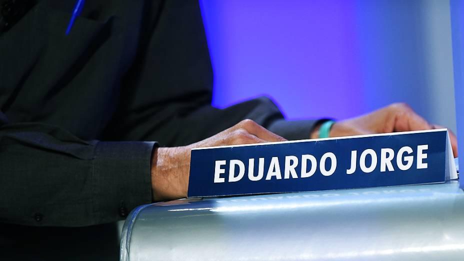 A cadeira do candidato à Presidência da República Eduardo Jorge (PV) durante o debate promovido pela Globo, no Rio