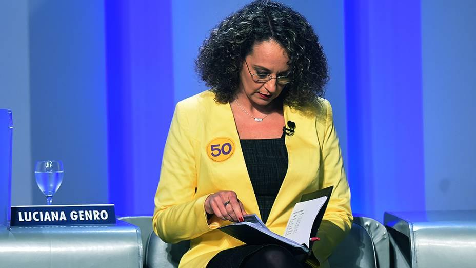 A candidata à Presidência da República Luciana Genro (PSOL) antes do debate promovido pela Globo, no Rio