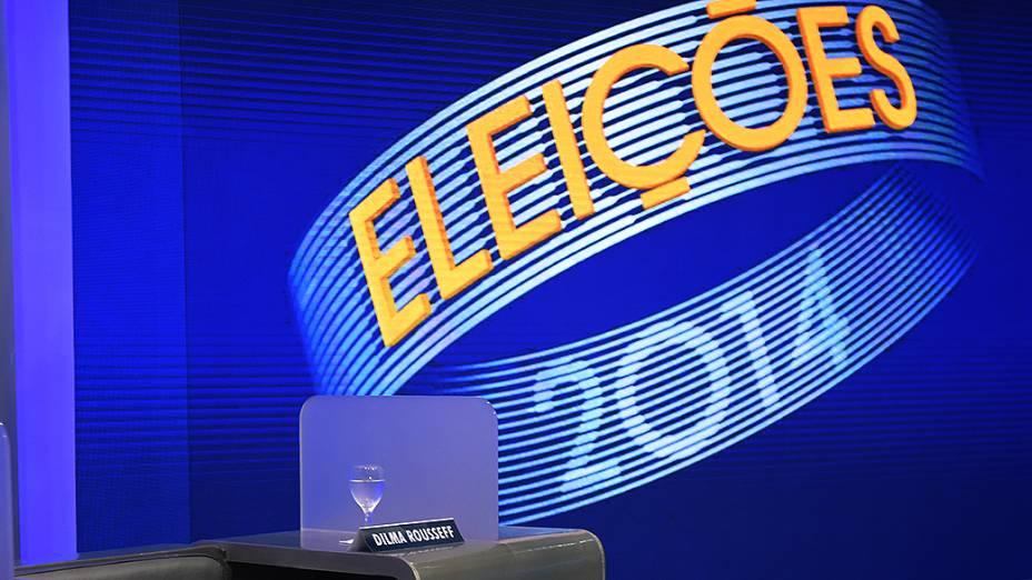 A cadeira da candidata à Presidência da República Dilma Rousseff (PT), durante o debate promovido pela Globo, no Rio
