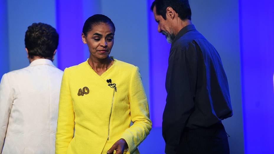 Os presidenciáveis Marina Silva (PSB) e Eduardo Jorge (PV), antes do debate promovido pela Globo, no Rio
