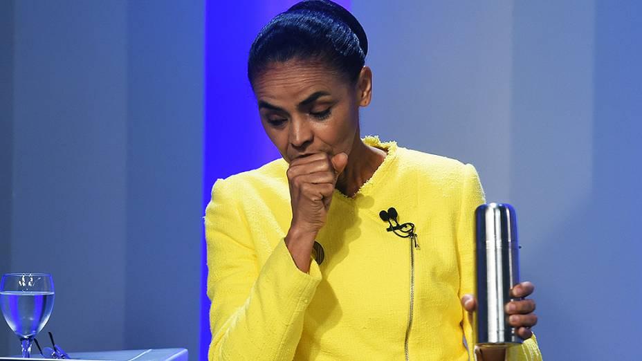 Marina Silva a minutos do início do debate