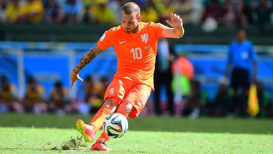 O holandês Sneijder durante o jogo contra o México no Castelão, em Fortaleza