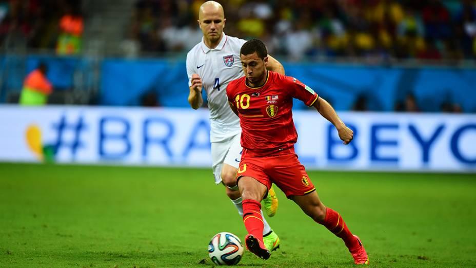 Hazard, da Bélgica, durante o jogo contra os Estados Unidos na Arena Fonte Nova, em Salvador