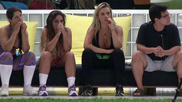Andressa, Ivan, Anamara e Fernanda ficaram fora da prova do líder, no BBB 13
