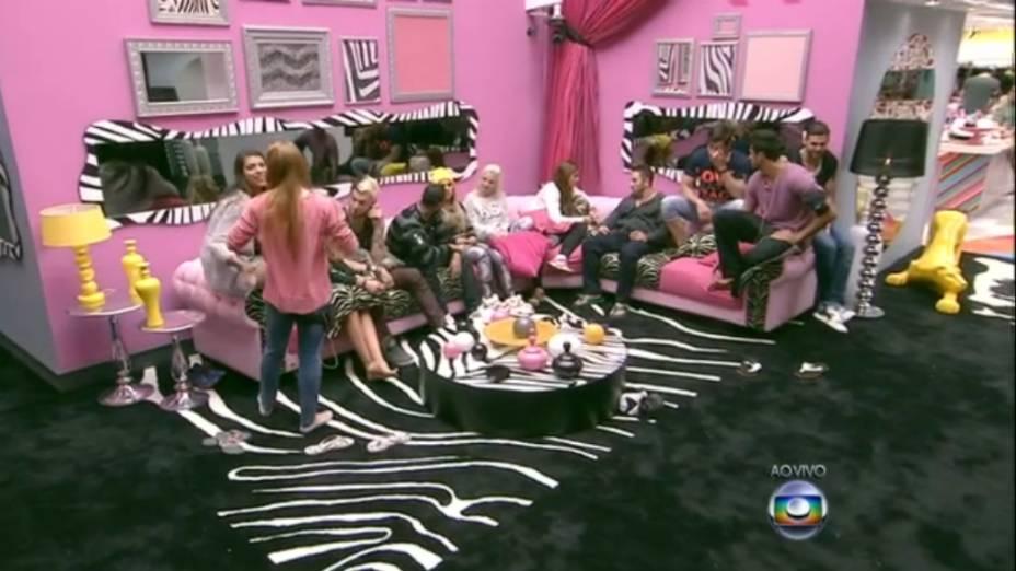 BBB14: brothers inauguram as conversas com Bial na sala decorada com pink e estampas animais