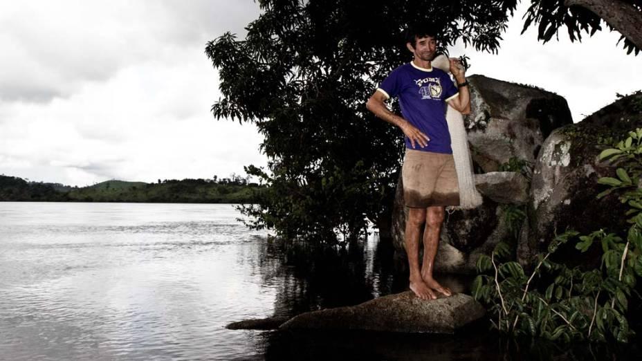 """Pedro Soares de Aragão, de 52 anos, o Pinóquio, mora no vilarejo da Ilha da Fazenda, onde a água do Xingu vai baixar: """"Vamos passar sufoco"""""""