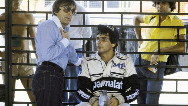 Bernie Ecclestone, dono da Brabaham, e Nelson Piquet, durante os treinos do GP Brasil de 1980