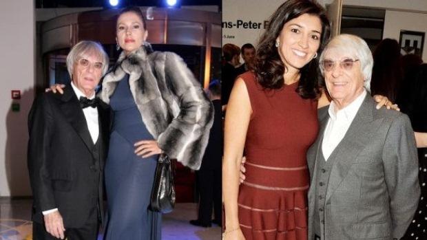 Bernie Ecclestone, com a ex-mulher Slavica (à esq.) e com a atual, a brasileira Fabiana Flosi