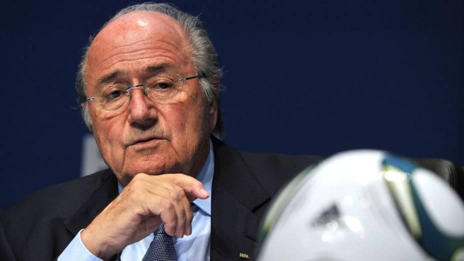 O presidente da Fifa, Joseph Blatter, na sede da entidade, em Zurique (Suíça)