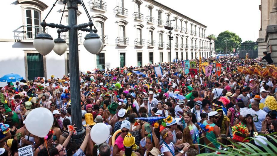 Desfile do tradicional bloco do Boitatá na Praça 15, centro do Rio de Janeiro, em 19/02/20212
