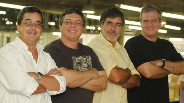 Os diretores do Big Brother Brasil LP Simonetti, Boninho, Carlos Magalhães e Roberto Naar
