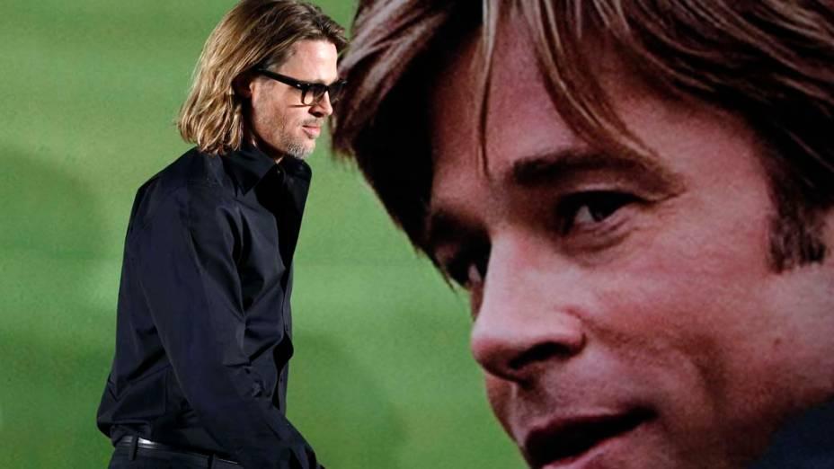 """Brad Pitt durante entrevista coletiva do filme """"Moneyball"""" em Seul, na Coreia do Sul"""