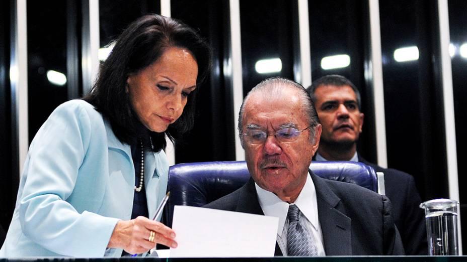 Presidente do Senado, José Sarney (PMDB-AP) durante sessão deliberativa ordinária para escolha do novo presidente da Casa