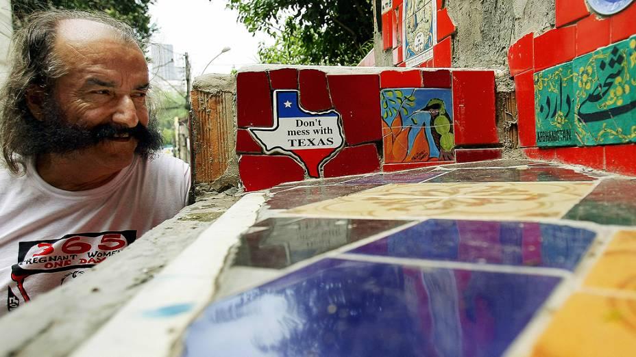Artista plástico chileno, Jorge Selarón em novembro de 2007