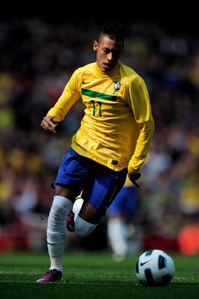 Neymar durante amistoso entre as seleções do Brasil e Escócia, em Londres - 27/03/2011