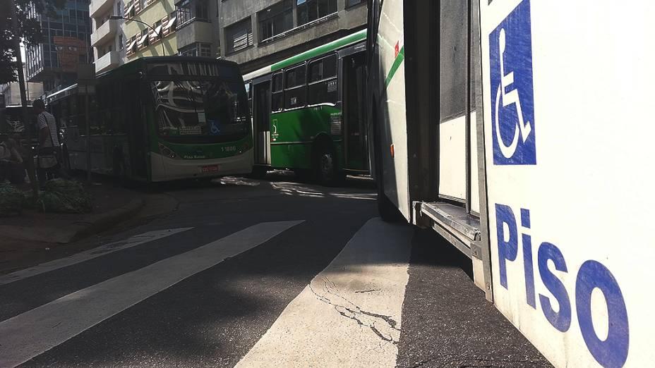 Ônibus parados no Largo do Paissandú, região central da capital paulista