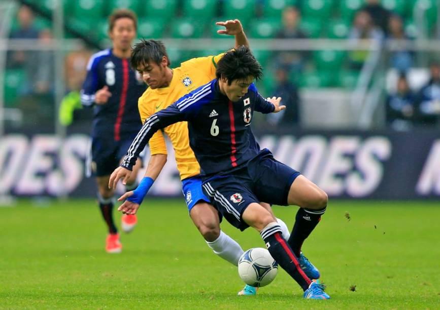 Neymar no amistoso entre Brasil e Japão, na Polônia