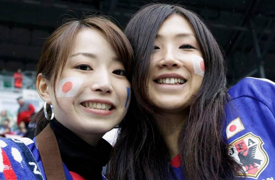 Torcedoras japonesas no amistoso com o Brasil, na Polônia